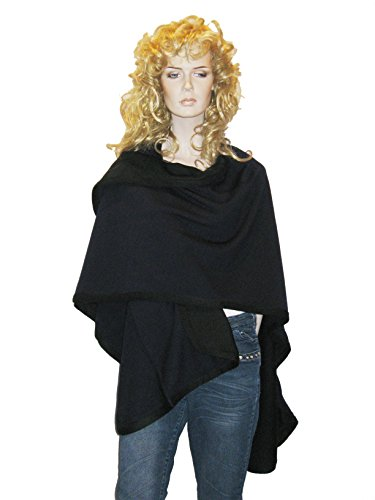 Cashmere Pashmina Group- Cape Woolen Reversible Ruana Knitted Poncho Shawl Cardigans Sweater Coat (Black/ Inky Navy) by Cashmere Pashmina Group