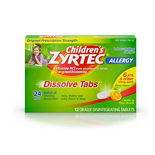 Zyrtec Childrens Zyrtec 24 Hour Dissolving Allergy Relief Tablets with Cetirizine, Citrus Flavored Allergy Medicine, 12 ct