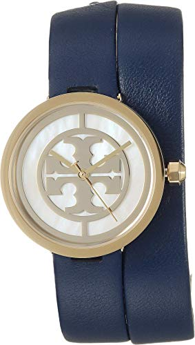 Tory Burch Women's Reva Leather Watch, 28mm, Navy, Blue, One ()