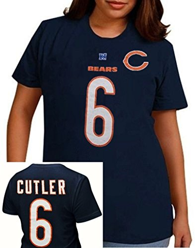 Jay Cutler Shirt - Majestic Athletic Chicago Bears Jay Cutler #6 NFL Her Catch Navy Blue Womens Shirt Plus Sizes (2X)