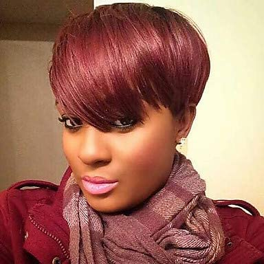 Human Hair Capless Wigs Human Hair Natural Straight Pixie Cut Layered Haircut Short Hairstyles 2019 Halle Berry Hairstyles Fashion Side Part With Bangs Dark Wine Short Capless Wig Women S Amazon Ca Sports Outdoors