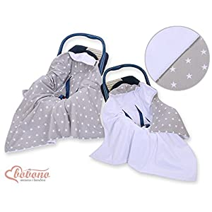 NEW!! UNIQUE DOUBLE-SIDED CAR SEAT BABY GREY BLANKET / COVER / COSYTOES - FOOTMUFF! 100x100cm - GREY STARS / BLANKET WITH SEAT BELT HOLES