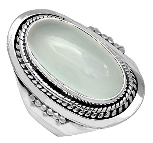 YoTreasure Aqua Chalcedony Solid 925 Sterling Silver Designer Ring Jewelry