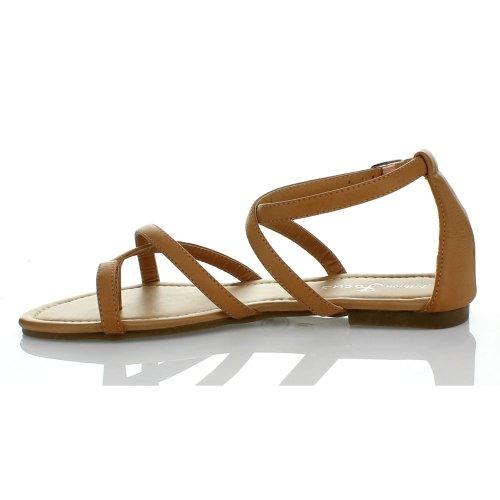 Fashion Focus Dames Evita-4 Classic Gladiator Sandalen Naturel