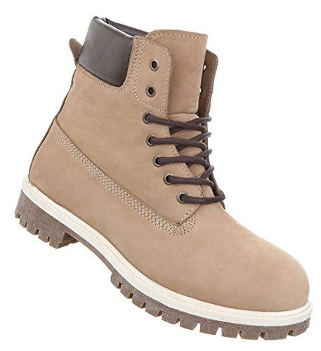 Herren Schuhe Boots Leder Schnürer Beige
