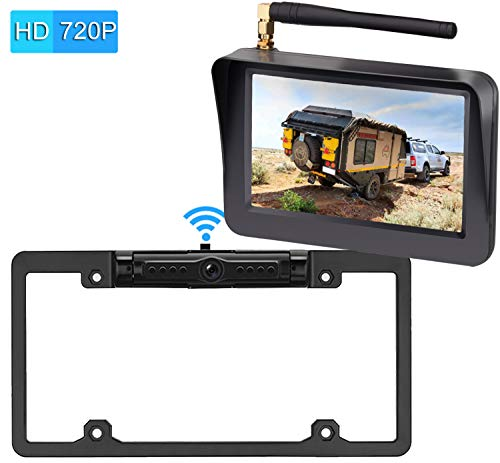 LeeKooLuu Digital Wireless Backup Camera System 2019 Vision HD 720P for Cars,RVs,Pickups,Trucks,Campers IP69 Waterproof License Plate Camera Front/Rear View Super Night Vision Guide Lines On/Off