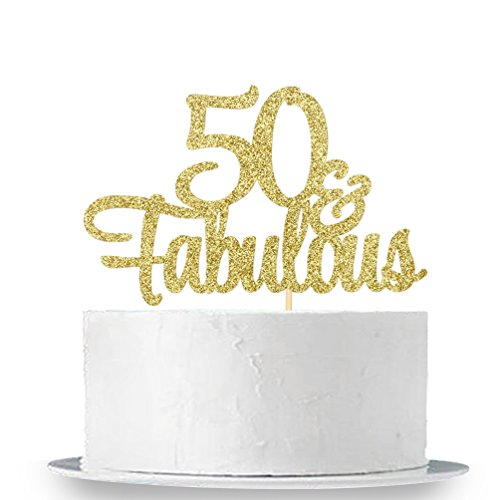 INNORU Gold Glitter 50 & Fabulous Cake Topper - 50th Birthday Party Decoration Sign -