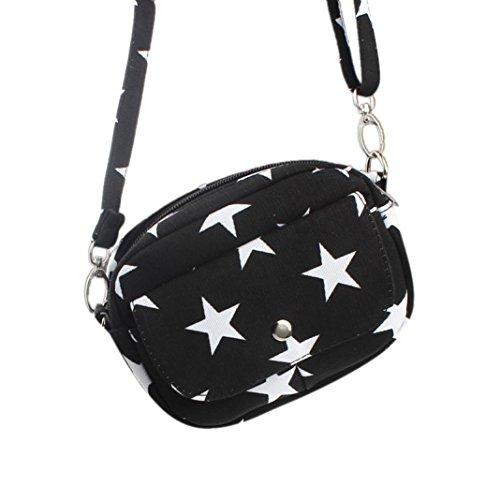 Cross Shoulder Mini Canvas Protable Black Handbag Body Handbag Women Bags Small Bag Purse Messenger qnv5I0w5S