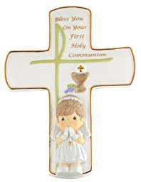 "Precious Moments, Communion Gifts, ""Bless You On Your First Holy Communion"", Girl, Bisque Porcelain Cross with Stand, #104409"