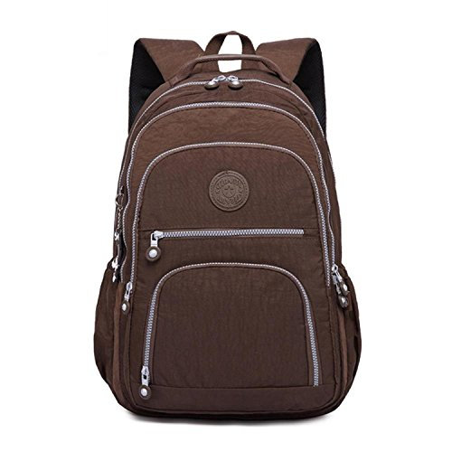 Backpack for Teenage Girls Women School Backpacks Nylon Waterproof Casual Laptop Bagpack Female Brown 33CMX16CMX47CM 1377 Child Carrier Backpack Reviews