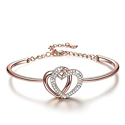 "J.NINA ?Valentine's Day Gifts?""Guardian of Love"" 7 Inches Heart Rose-Gold Plated Women Bangle Bracelet with Swarovski Crystals - a Luxury Jewelry Gift Box Included"
