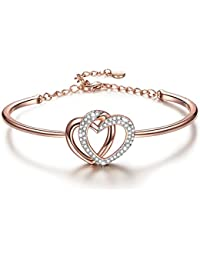 """Guardian of Love"" 7 Inches Heart Rose-Gold Plated Women Bangle Bracelet with Swarovski Crystals - a Luxury Jewelry Gift Box Included"