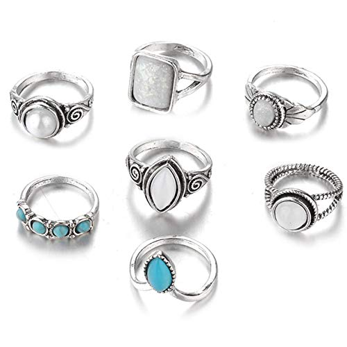 (Xeminor Creative Vintage Silver Boho Joint Knuckle Rings Set 7pcs Midi Rings Jewelry Gift for Women Girls)