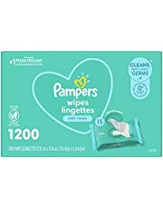 Baby Wipes, Pampers Complete Clean SCENTED Baby Fresh Scent, 15X Pop Top, Hypoallergenic and Dermatologist-Tested, 1200 Count, Packaging May Vary