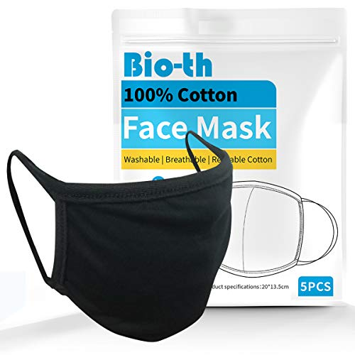 Bio-th 5 Pack Premium Cloth Face Mask Machine Washable Reusable Breathable Comfort Ear loop Cotton Youth Adult L/XL Black