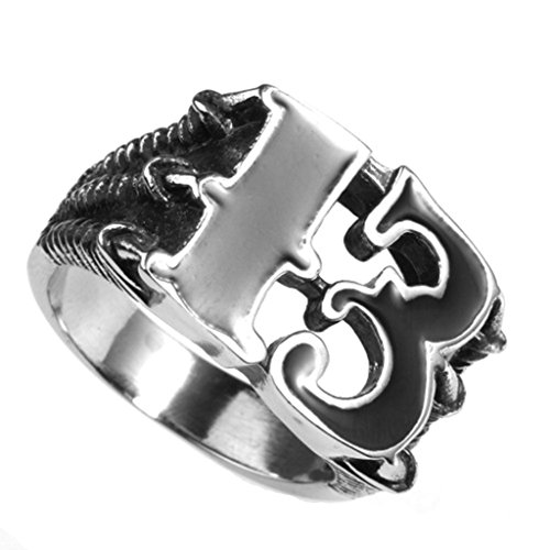 (MoAndy Stainless Steel Jewelry Stainless Steel Ring Men Wedding Ring Number 13 Size 13)