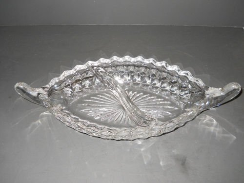 Divided Oblong - Fostoria American 2 Section Divided Oblong Handled Relish Bowl or Dish~12