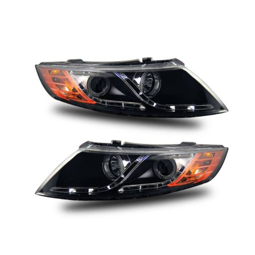 SPPC Projector Headlights Black Assembly Set (CCFL Halo) For Kia Optima - (Pair) Driver Left and Passenger Right Side Replacement Headlamp