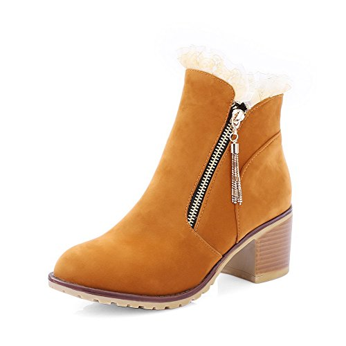 Heels Top Round Closed Kitten Brown Zipper Women's AgooLar Toe Frosted Low Boots qRSYfS