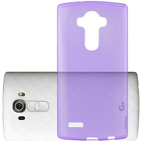 Cadorabo - LG G4 Cubierta protectora de silicona TPU en diseño AIR - Case Cover Funda Carcasa Protección en TRANSPARENTE-LILA TRANSPARENTE-LILA