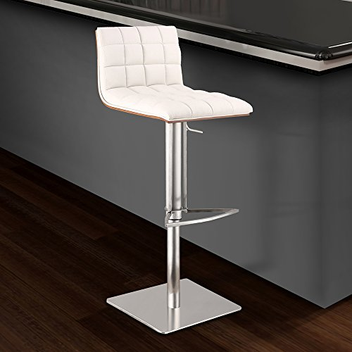 Armen Living LCOSSWBAWHB201 Oslo Adjustable Barstool in White Faux Leather and Brushed Stainless Steel Finish