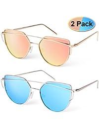 elimoons Cat Eye Sunglasses 2Pack Mujeres Espejo Lentes metal Fashion anteojos uv 400