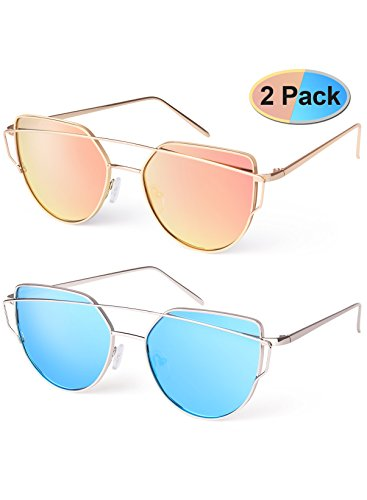 Elimoons Women Cat Eye Sunglasses  Mirrored Lenses Metal Frame Uv 400 Fashion, Pack  of - Sunglasses Aviator Frame Wide