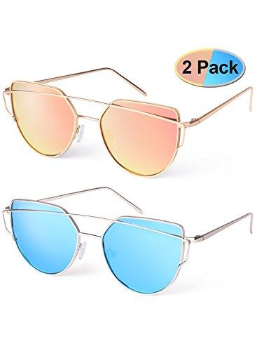 Elimoons Women Cat Eye Sunglasses  Mirrored Lenses Metal Frame Uv 400 Fashion, Pack  of 2