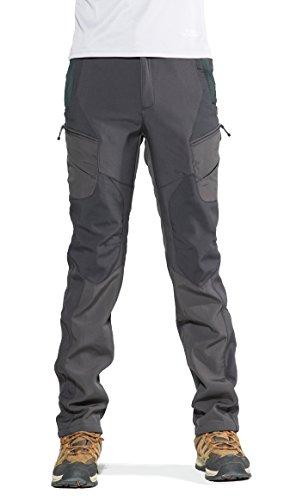 KORAMAN Men's Insulated Outdoor Windproof Hiking Pants Softshell Warm Fleece Mountain Ski Pants Grey US XL by KORAMAN