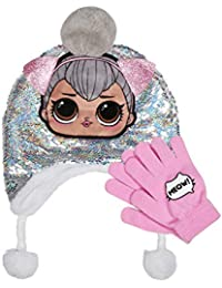 L.O.L Surprise Silver Magic Sequin Hat with Pom-Pom & Glove Set 2 Pieces Winter Accessories Set for Girls Pink