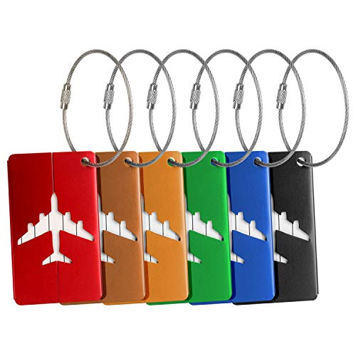 Airplane Luggage Tags,Aluminium Alloy Travel Baggage Name Tags 6 Color for Choose (Six color)