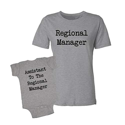 Daddy Toddler T-shirt - Regional Manager & Assistant to The Regional Manager - Baby Bodysuit & T-Shirt Matching Set (Heather, Large/6M)