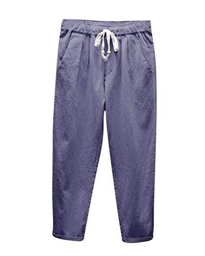 Respiration Avec Harem Décontractée Vrac Uni Mode Pantalon En Confortable Facile Plage Poches De Graublau Hommes Couleur qAXOxzSOw