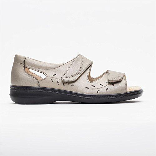 Padders Damen Breite Größe Ledersandalen Wave 2 | Super Breite EEEE Größe | kostenloser Rückversand nach UK | Gratis Footcare UK Schuhanzieher | Zinn