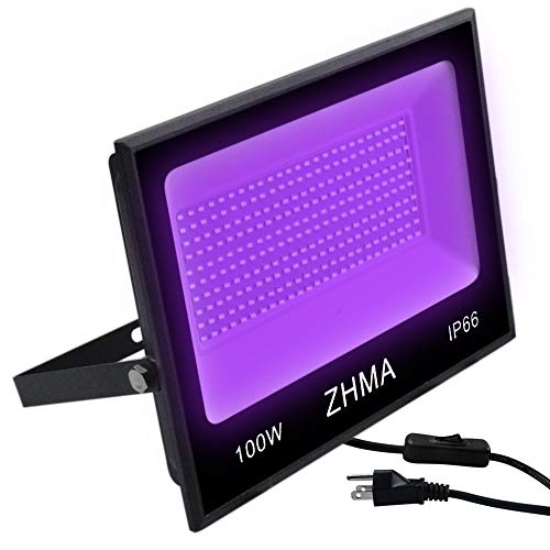 ZHMA 100W UV LED Black Light,IP66 Waterproof UV Light,for Indoor and Outdoor Blacklight Party,Stage Lighting,Aquarium,Neon Glow,Fluorescent Effect, Glow in The Dark Curing.