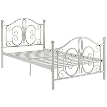 DHP Bombay Metal Bed Frame  Vintage Design and Includes Metal Slats  Twin  Size. Amazon com  ACME 01680T Flora Panel Bed  Twin  White Finish