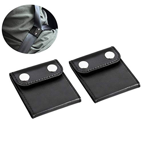 woniutch 2 Pack Car Seatbelt Adjuster, Comfort Seat Belt Covers, PU Leather, Auto Shoulder Neck Protector Strap Positioner Locking Clip Safety Covers (Black)