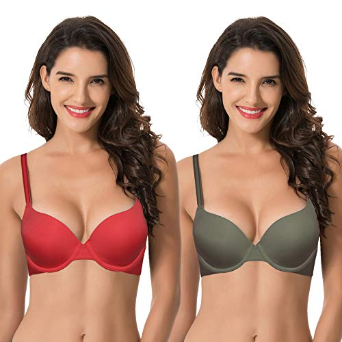 - Curve Muse Womens Light Lift Add 1 Cup Push Up Underwire Convertible Tshirt Bra-2PK-RED,GREEN-40C