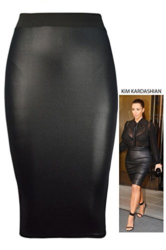 Forever Womens Celebrity Inspired High Waisted Wetlook Bodycon Midi Pencil Skirt by Forever (Image #3)