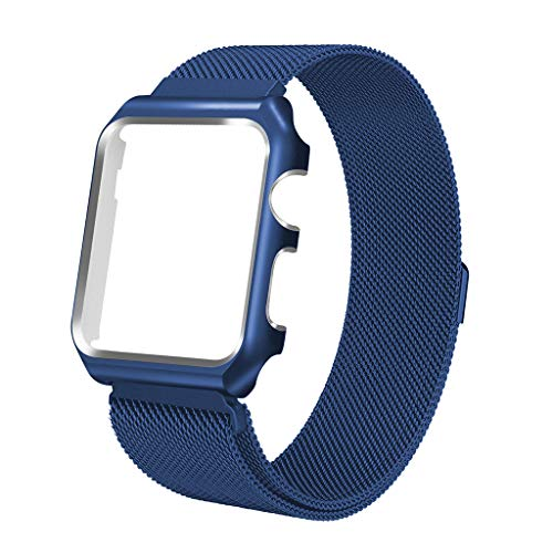 Case Cover Protector Blue (iTerk Compatible Apple Watch Band 44mm 40mm,Milanese Mesh Loop Stainless Steel Replacement Band Bracelet Strap Magnetic Buckle Case Cover Bumper Compatible iWatch Apple Watch Series 4)
