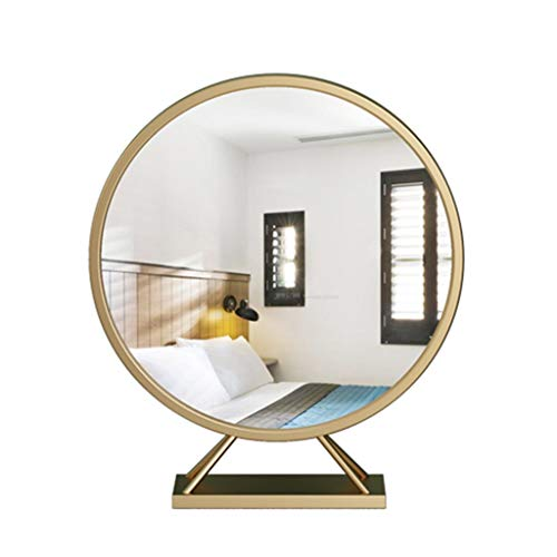 (Selm Makeup Mirror Round Portable Countertop Cosmetic Mirror Gold Iron Art Desktop Mirror Vanity Mirror (Size : C))