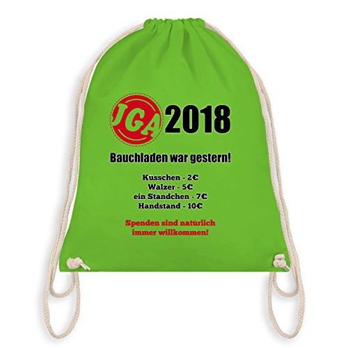 Shirtracer JGA Junggesellenabschied - Bauchladen war gestern! 2018 - Turnbeutel I Gym Bag Hellgrün FYMKT2c