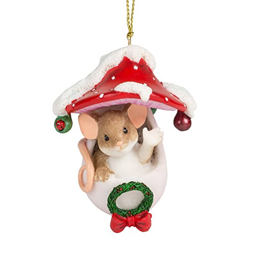 Holiday Hello Mouse in Toadstool 3 Inch Resin Hanging Tree Ornament