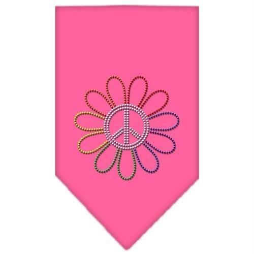 Mirage Pet Products Rainbow Peace Flower Rhinestone Bandana, Small, Bright Pink