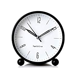 Snifu Analog Alarm Clock,Easy Set Small Desk Clock,Non Ticking,with Night Light, Battery Powered Super Silent Alarm Clock,Black