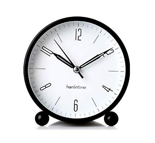 Snifu Analog Alarm Clock,Easy Set Small Desk Clock,Non Ticking,with Night Light, Battery Powered Super Silent Alarm Clock,Black