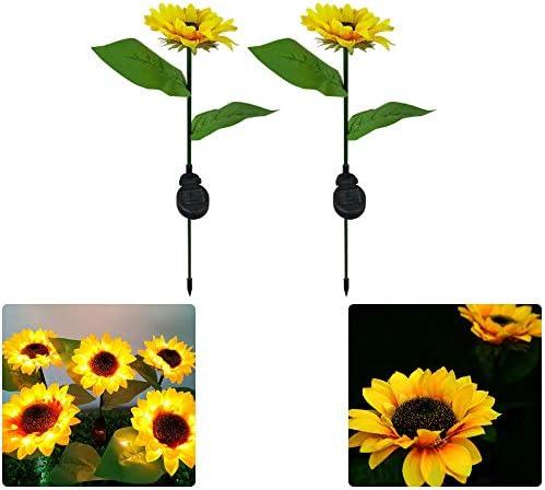 Eselltotal 2pcs Sunflower Solar Light LED Lawn for Outdoor Garden Outdoor Garden Powerful Sunflower Solar Lamps Night Light