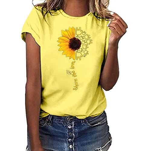 (Aniywn Summer T-Shirt, Women Sunflower Print Loose Round Neck Short Sleeve Basic Blouse Tops Yellow)