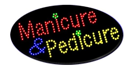 LED Manicure Pedicure Open Light Sign Super Bright Electric Advertising Display Board for Hair Nails Waxing Massage Business Shop Store Window Bedroom Decor (HSM0013, 19 x 10 inches) -