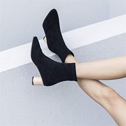 Invierno Para Botas Rough De Y Moda Zapatos High Primavera Cuero Martin Heels Booties Segundo Mujer Otoño Yan Terciopelo Plus xHvCwfn